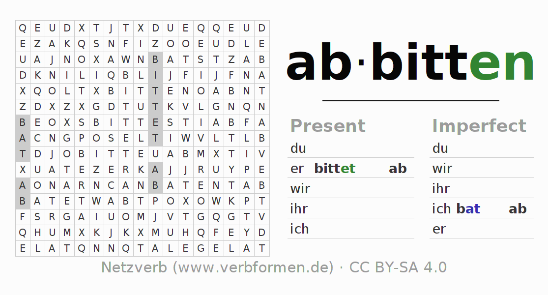 Word search puzzle for the conjugation of the verb abbitten