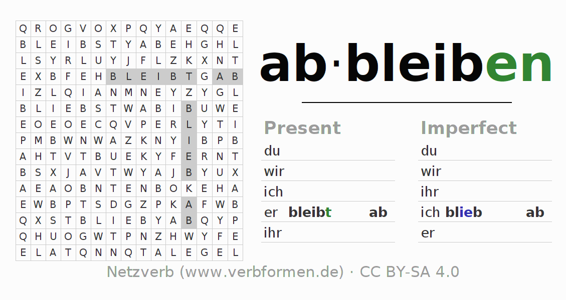 Word search puzzle for the conjugation of the verb abbleiben
