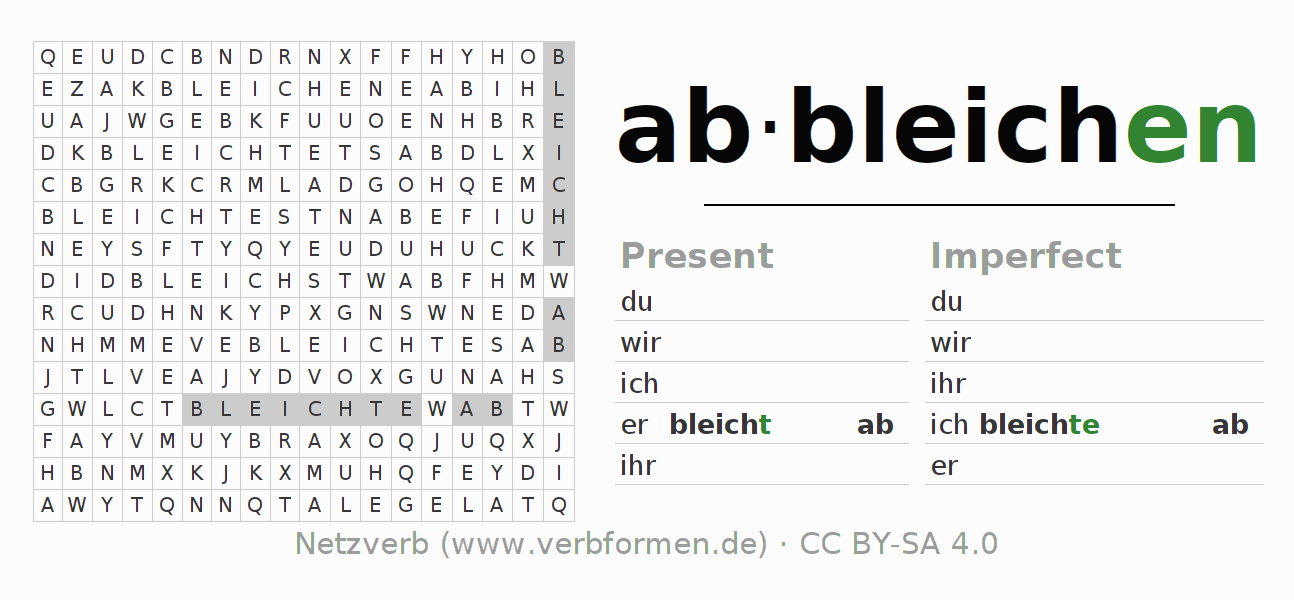Word search puzzle for the conjugation of the verb abbleichen