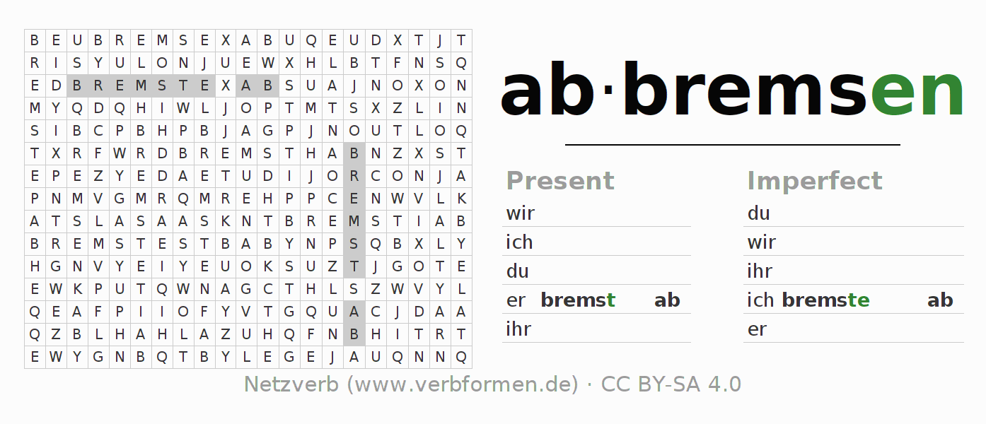 Word search puzzle for the conjugation of the verb abbremsen