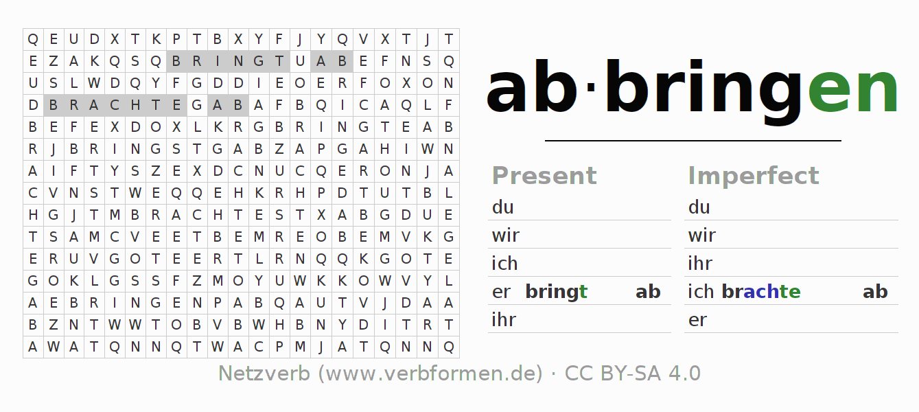 Word search puzzle for the conjugation of the verb abbringen