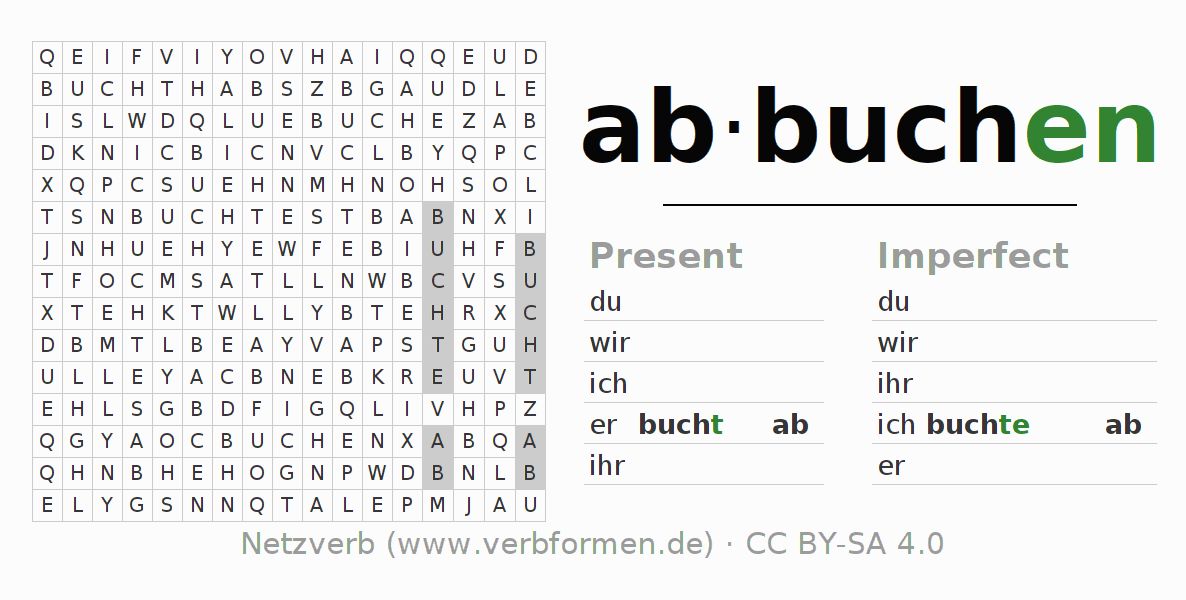 Word Search Puzzle For The Conjugation Of Verb Abbuchen