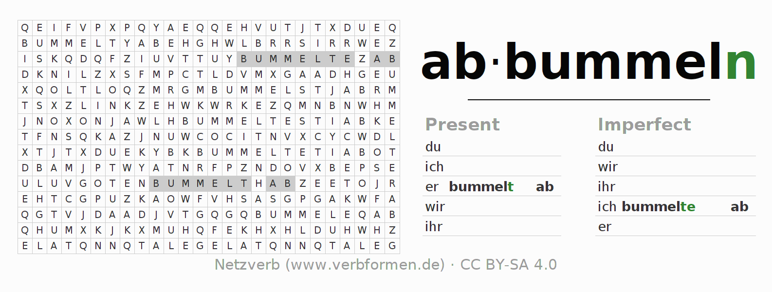 Word search puzzle for the conjugation of the verb abbummeln