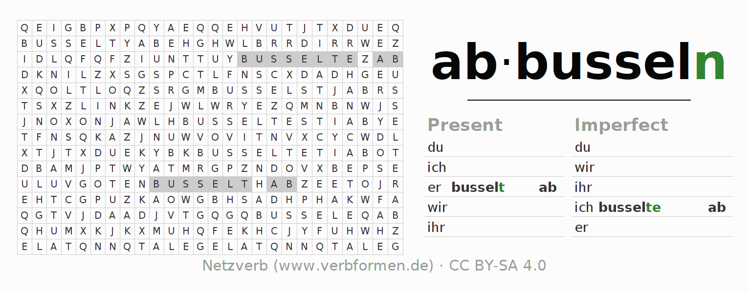 Word search puzzle for the conjugation of the verb abbusseln
