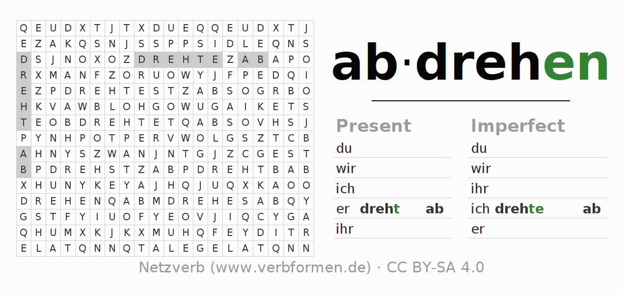 Word search puzzle for the conjugation of the verb abdrehen (hat)