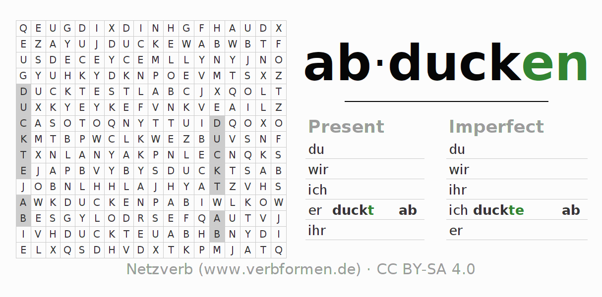 Word search puzzle for the conjugation of the verb abducken