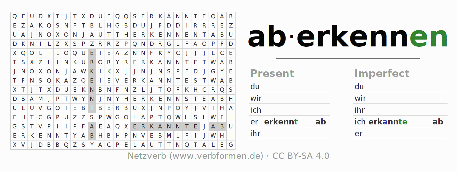 Word search puzzle for the conjugation of the verb aberkennen