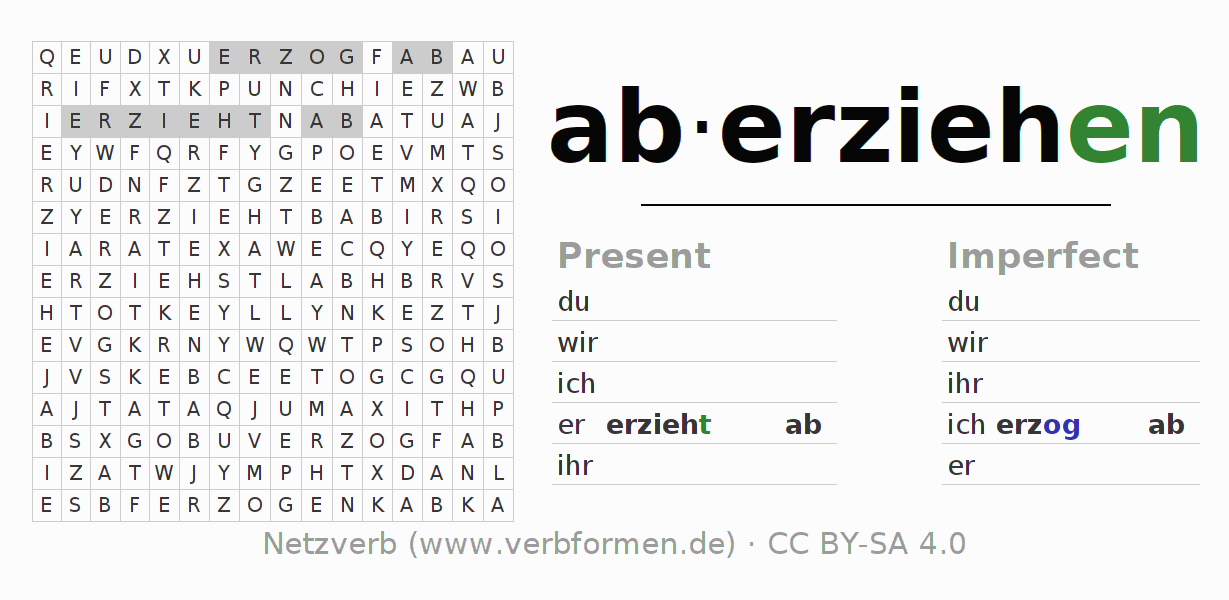 Word search puzzle for the conjugation of the verb aberziehen