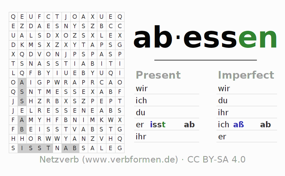 Word search puzzle for the conjugation of the verb abessen