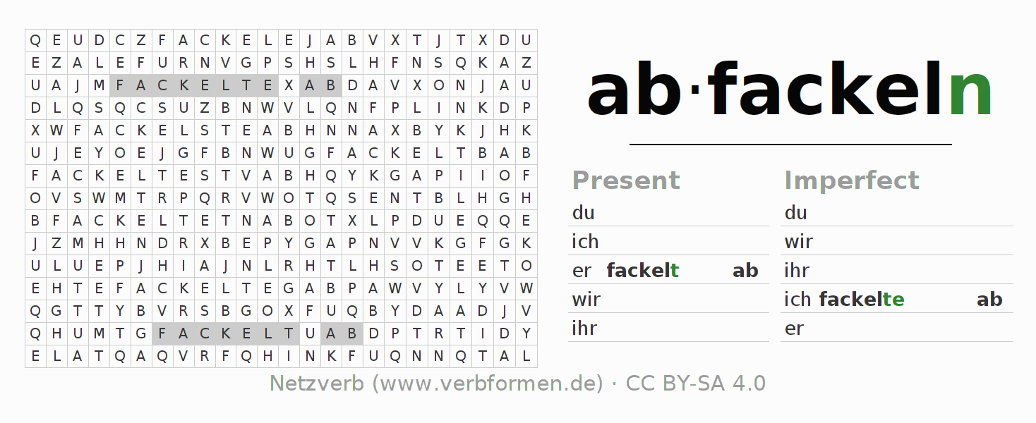 Word search puzzle for the conjugation of the verb abfackeln