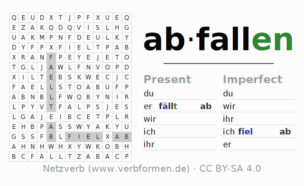 Word search puzzle for the conjugation of the verb abfallen