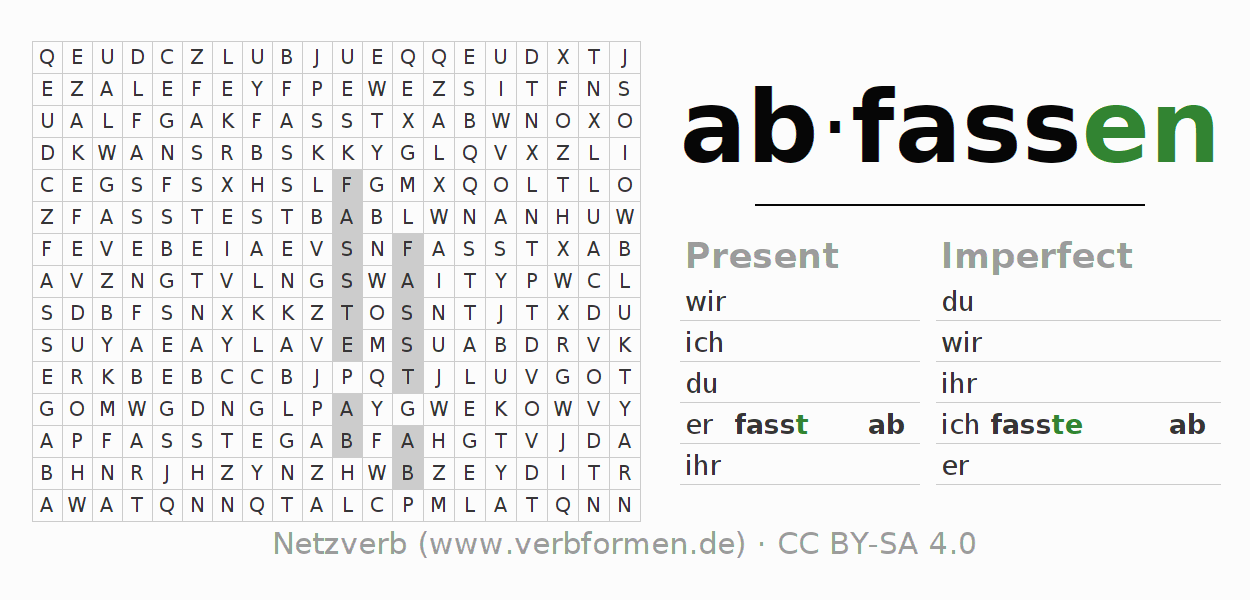 Word search puzzle for the conjugation of the verb abfassen
