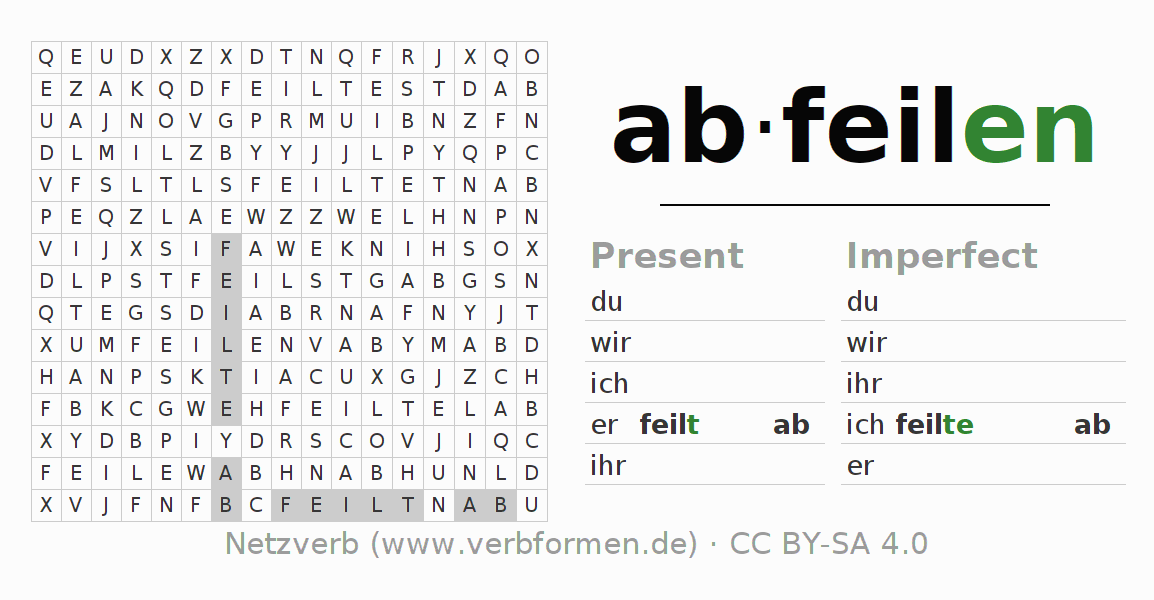 Word search puzzle for the conjugation of the verb abfeilen