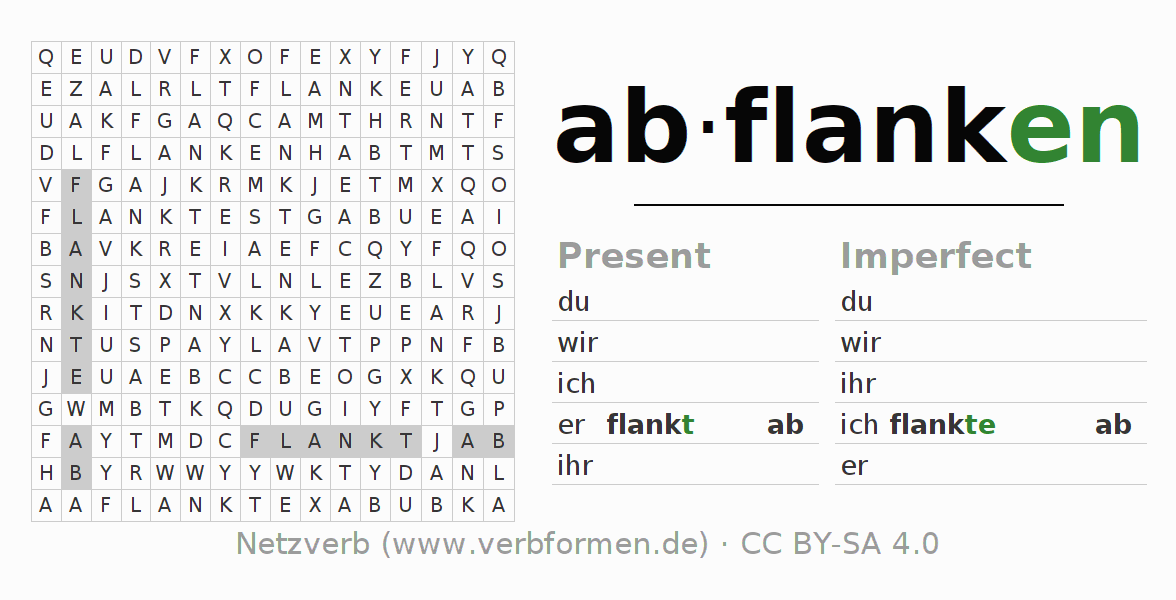 Word search puzzle for the conjugation of the verb abflanken