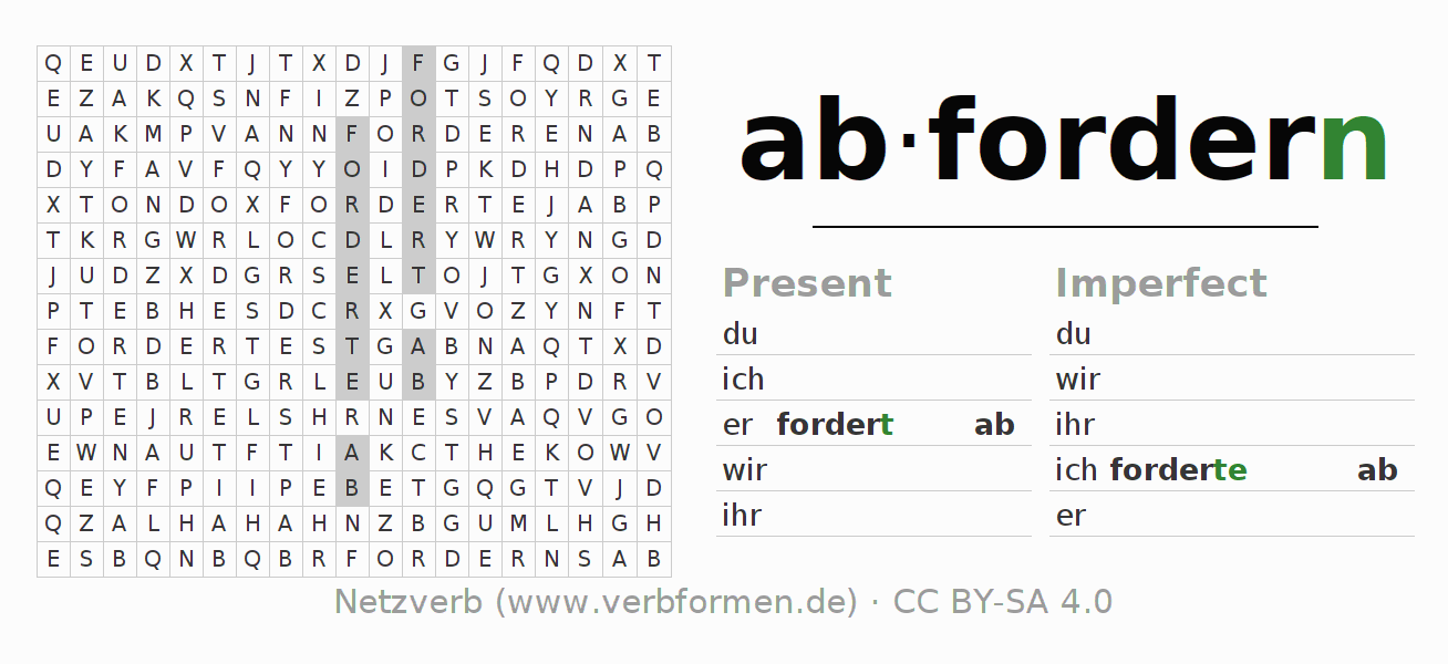 Word search puzzle for the conjugation of the verb abfordern