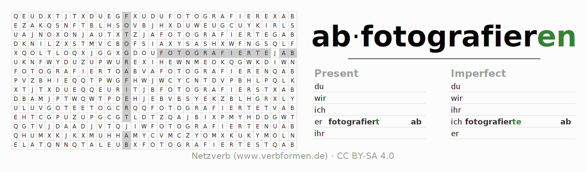 Word search puzzle for the conjugation of the verb abfotografieren