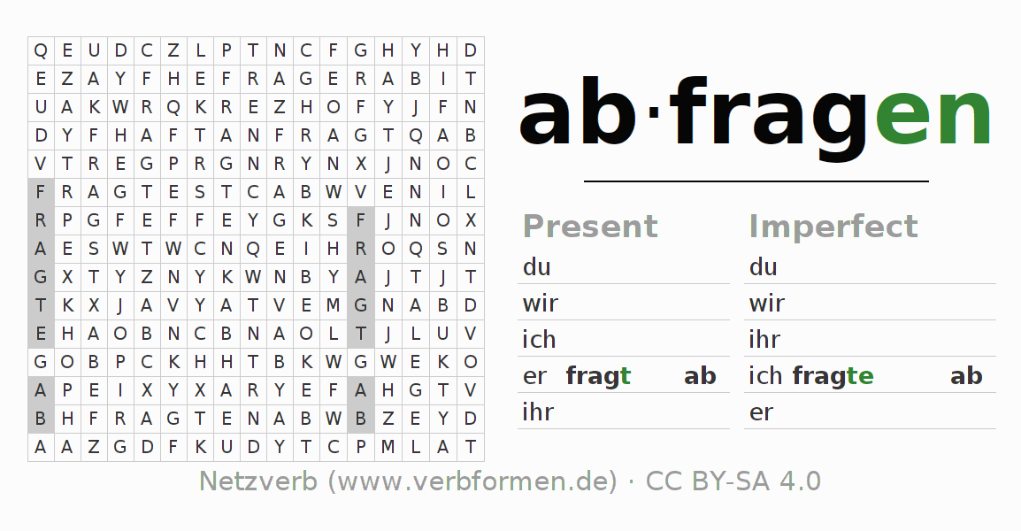 Word search puzzle for the conjugation of the verb abfragen (regelm)