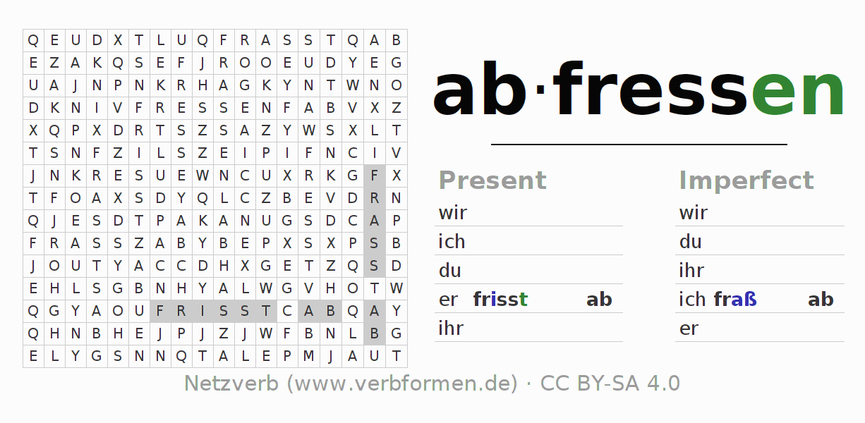 Word search puzzle for the conjugation of the verb abfressen