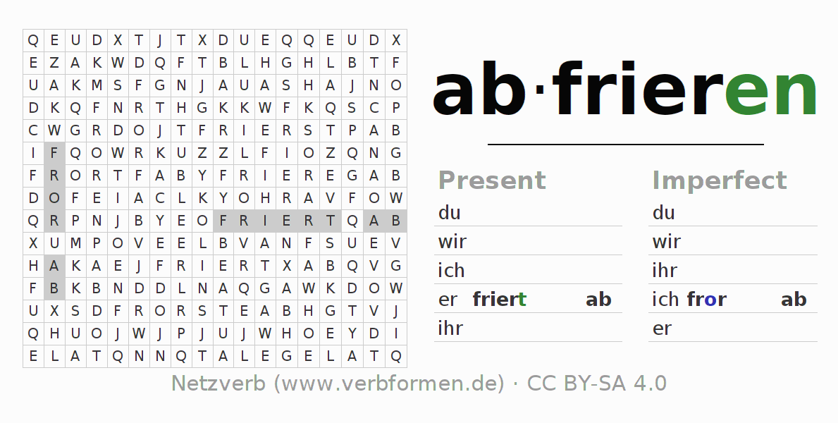 Word search puzzle for the conjugation of the verb abfrieren (ist)