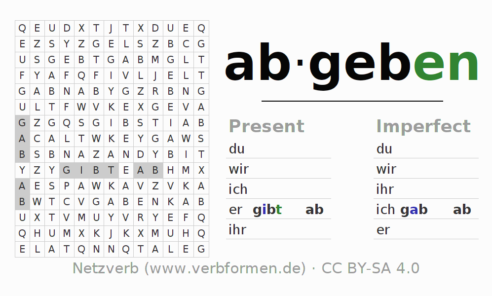 Word search puzzle for the conjugation of the verb abgeben