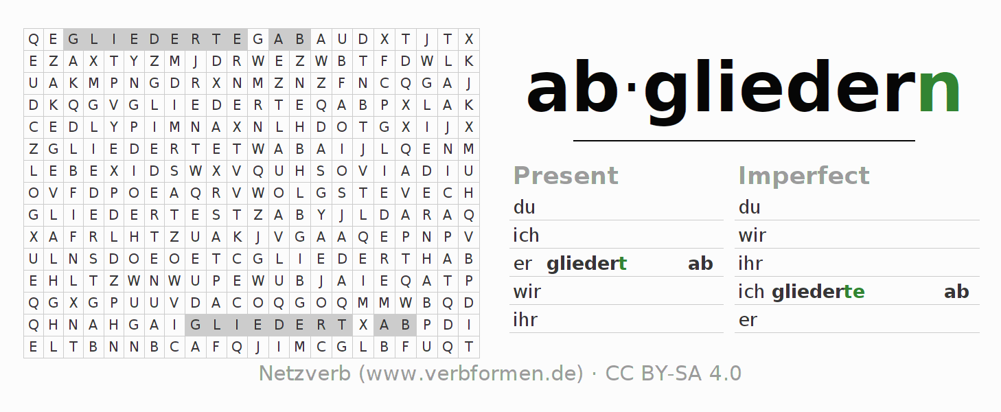 Word search puzzle for the conjugation of the verb abgliedern