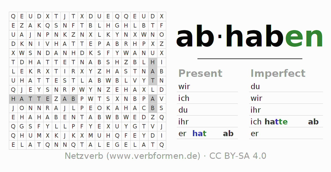 Word search puzzle for the conjugation of the verb abhaben