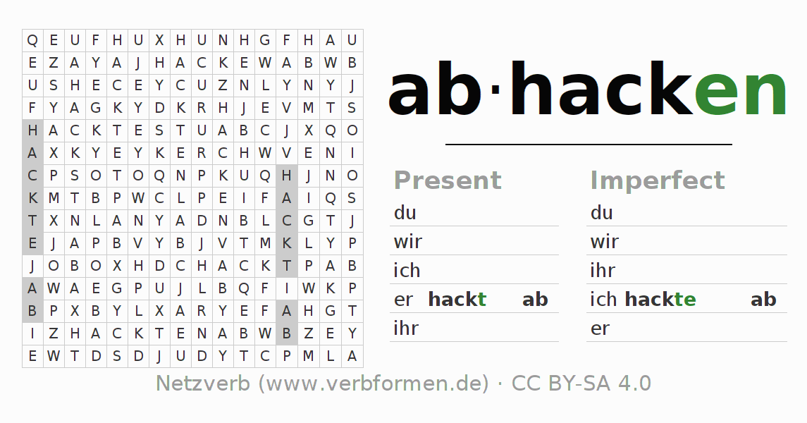 Word search puzzle for the conjugation of the verb abhacken