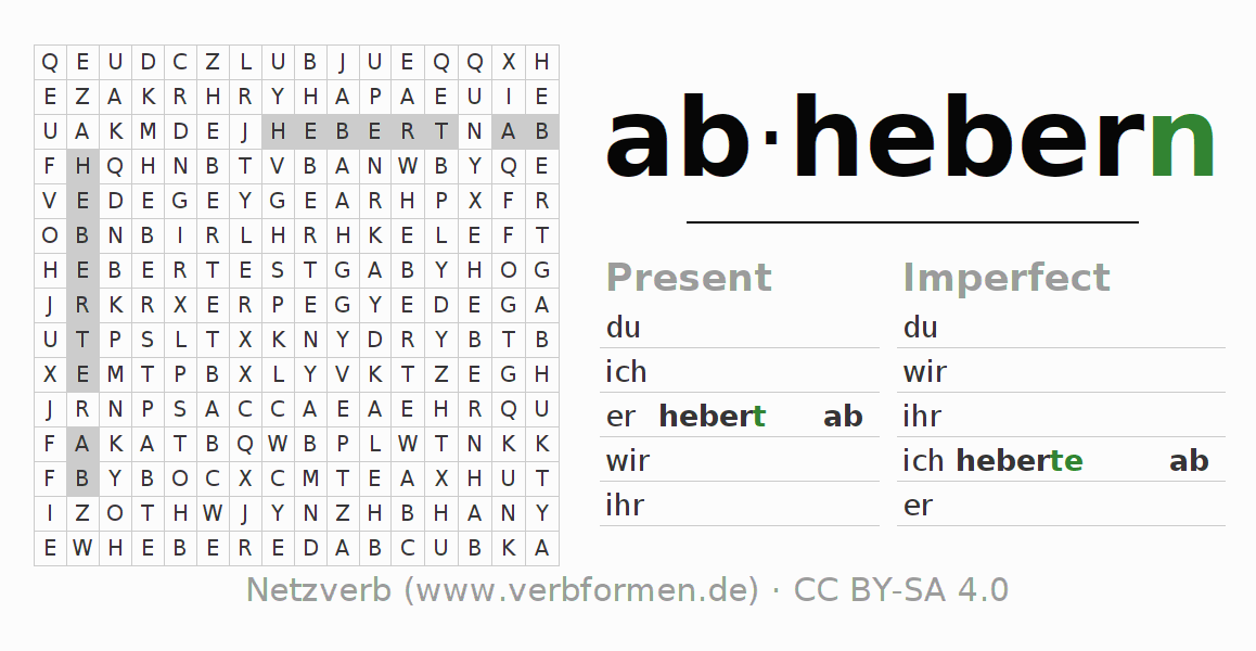 Word search puzzle for the conjugation of the verb abhebern