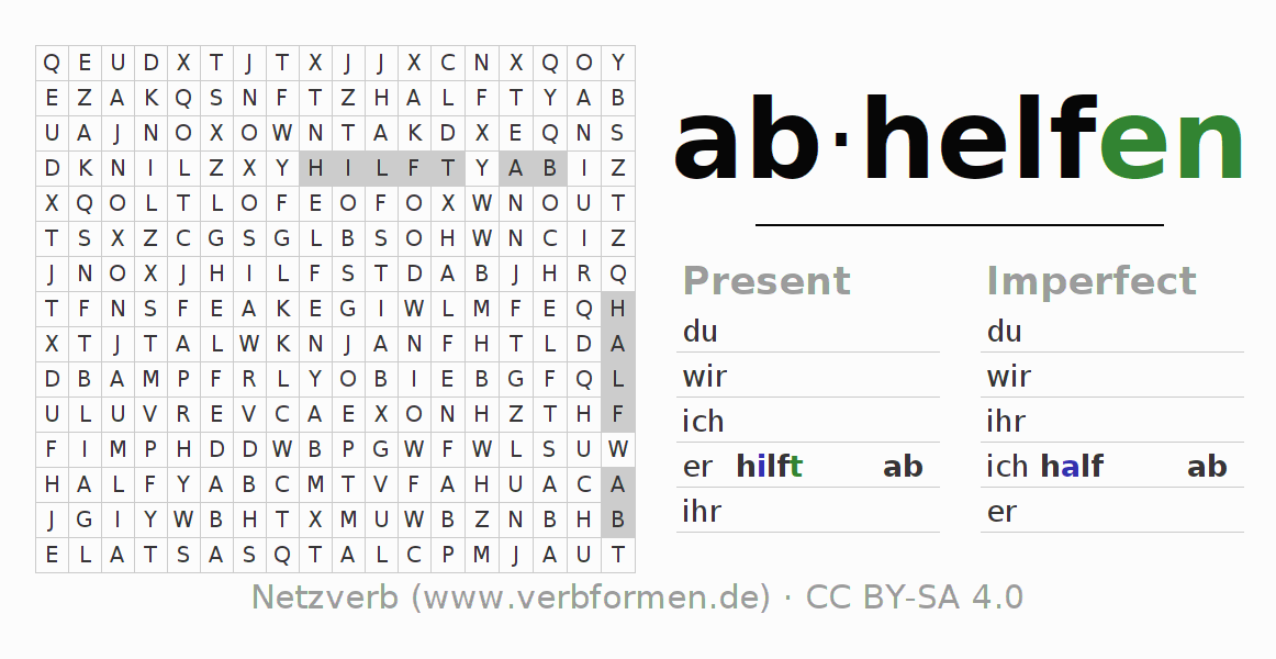 Word search puzzle for the conjugation of the verb abhelfen