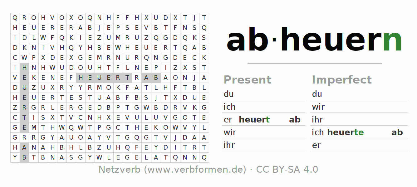 Word search puzzle for the conjugation of the verb abheuern