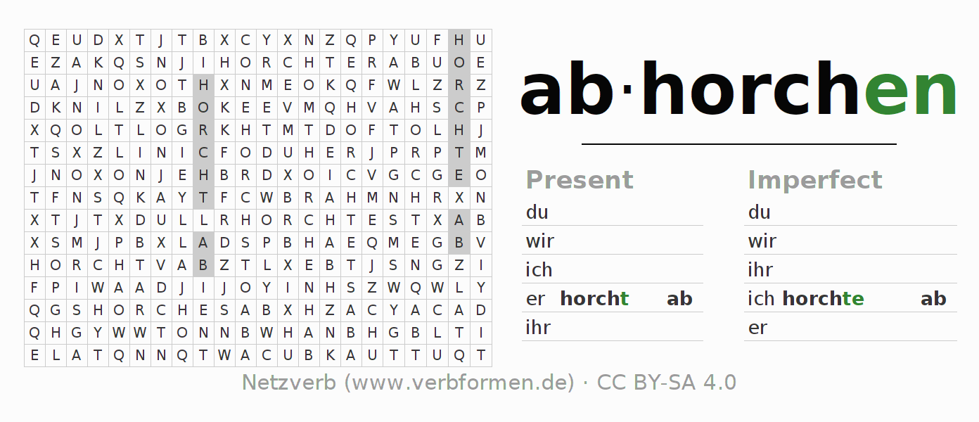 Word search puzzle for the conjugation of the verb abhorchen