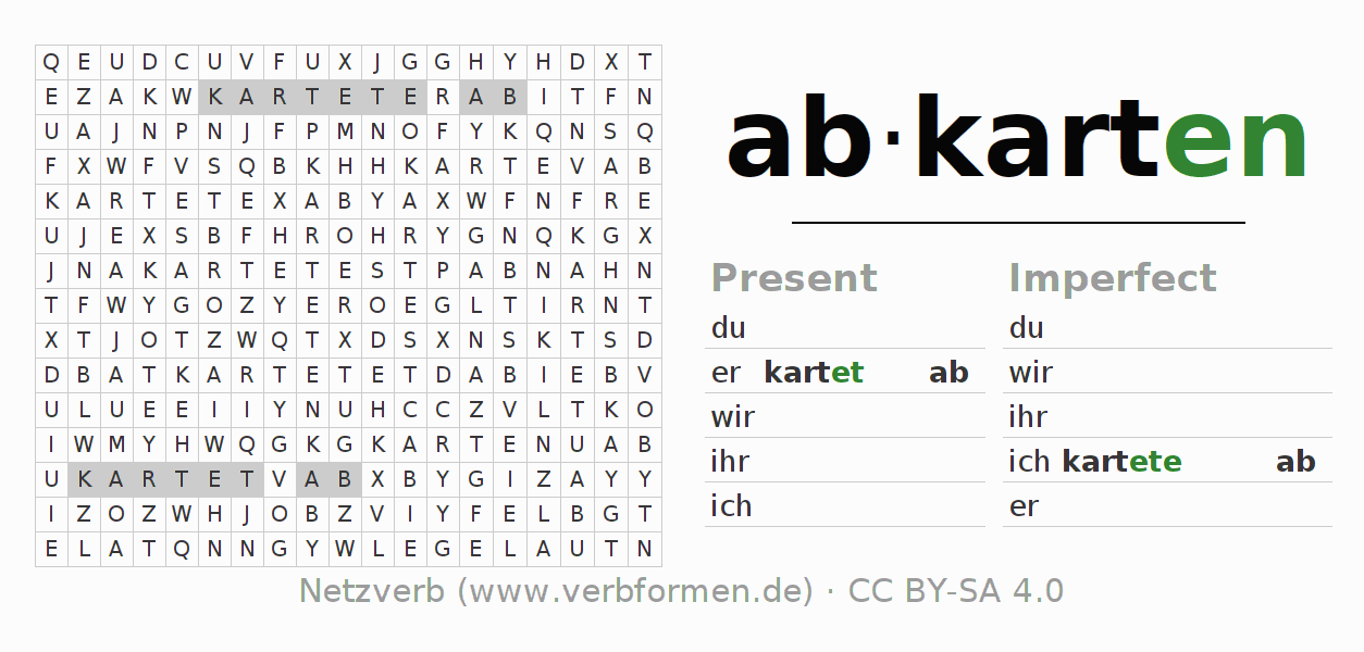 Word search puzzle for the conjugation of the verb abkarten