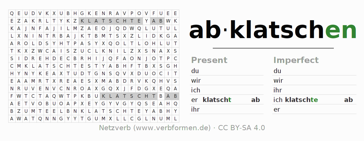 Word search puzzle for the conjugation of the verb abklatschen