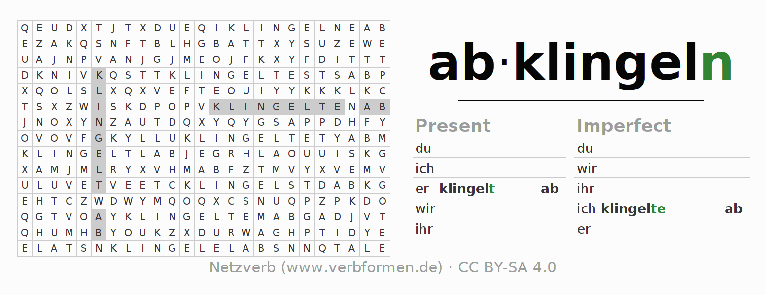 Word search puzzle for the conjugation of the verb abklingeln