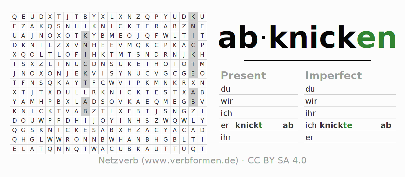 Word search puzzle for the conjugation of the verb abknicken (ist)