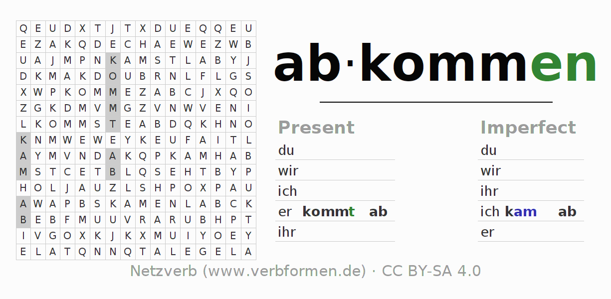 Word search puzzle for the conjugation of the verb abkommen