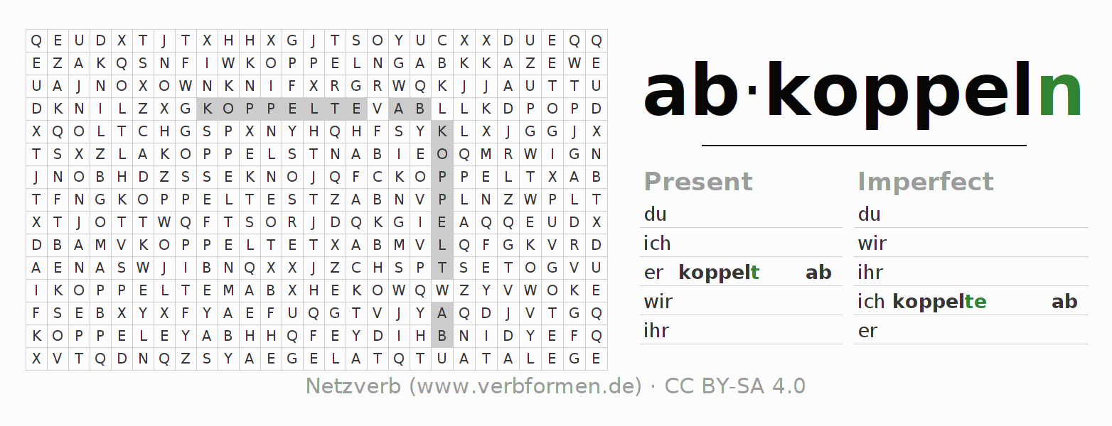 Word search puzzle for the conjugation of the verb abkoppeln