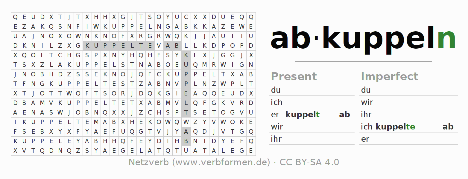 Word search puzzle for the conjugation of the verb abkuppeln
