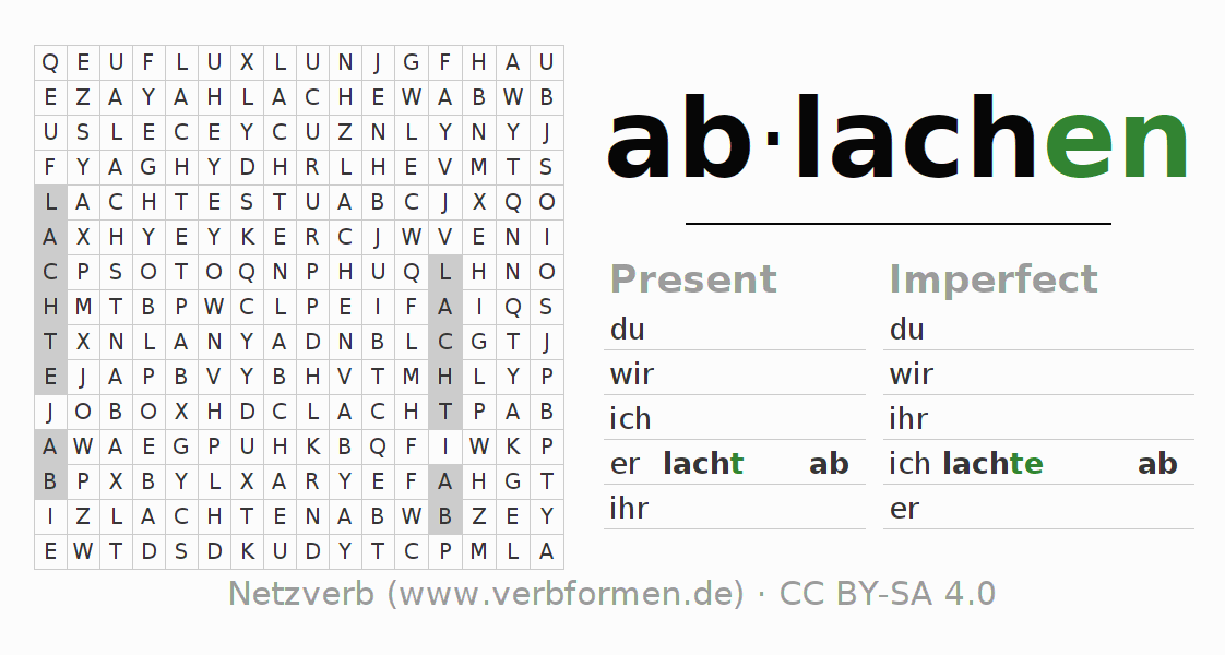 Word search puzzle for the conjugation of the verb ablachen