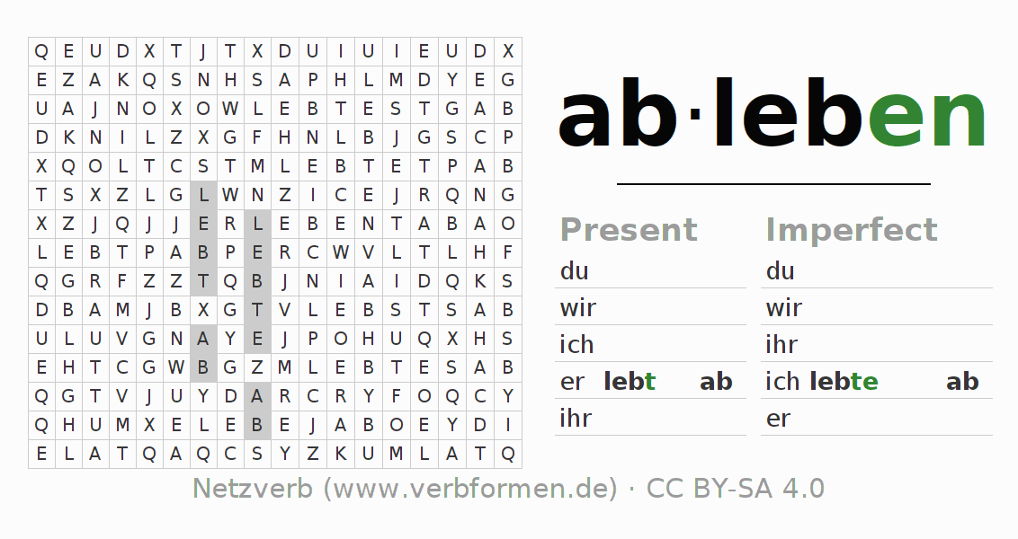 Word search puzzle for the conjugation of the verb ableben (ist)