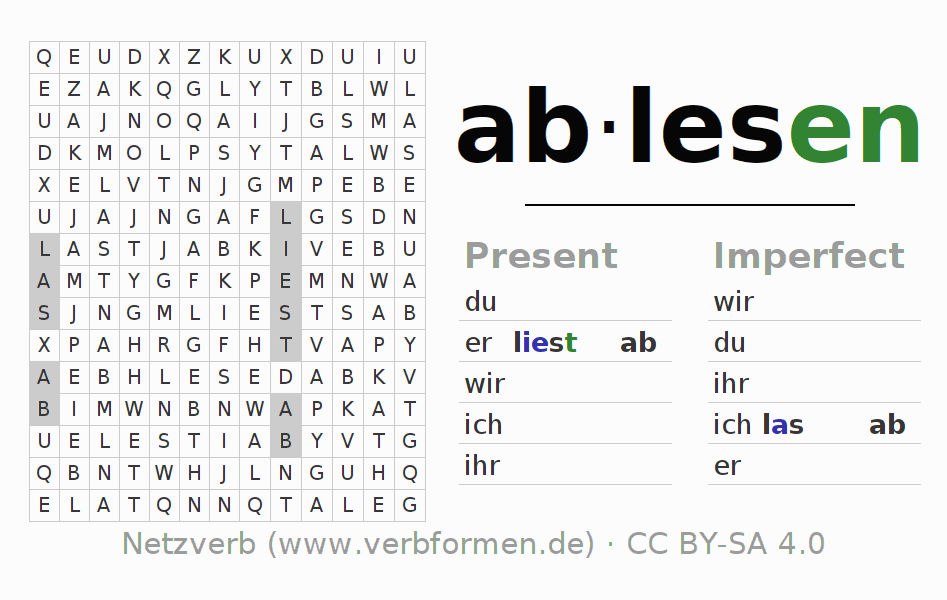 Word search puzzle for the conjugation of the verb ablesen
