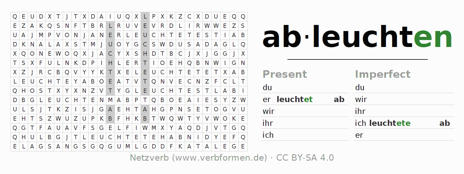 Word search puzzle for the conjugation of the verb ableuchten