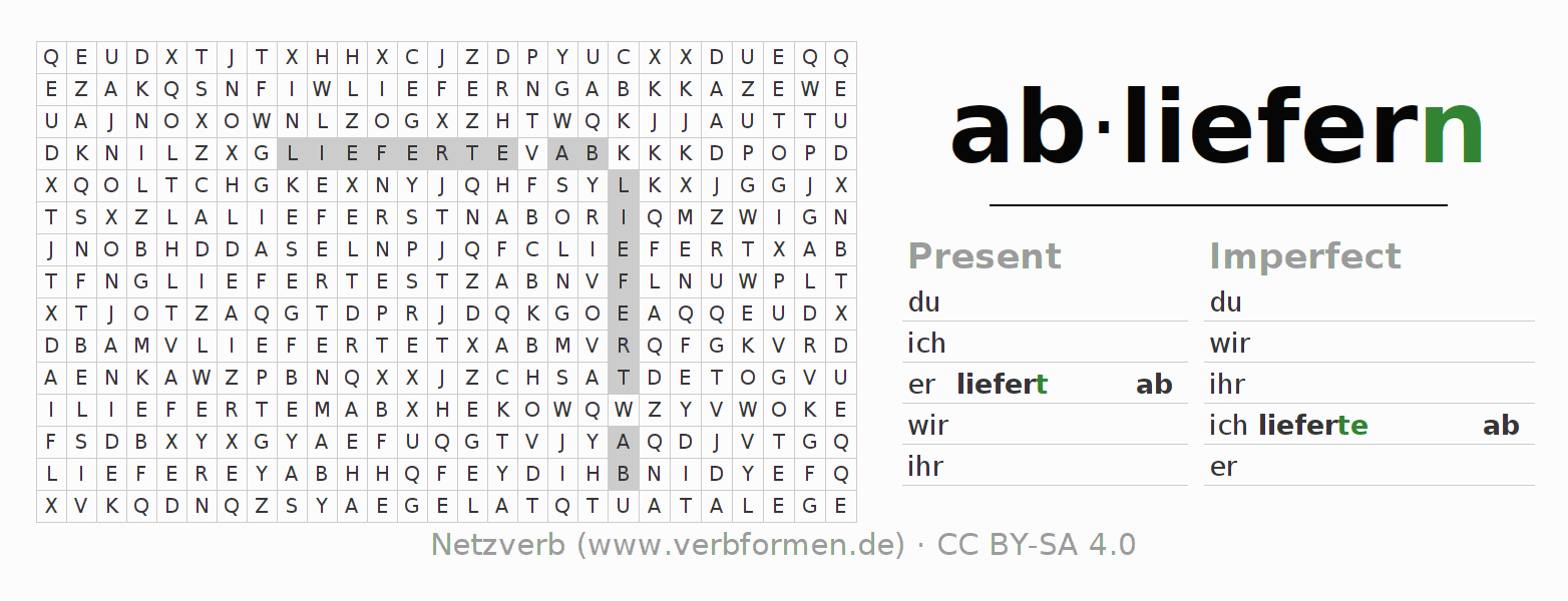 Word search puzzle for the conjugation of the verb abliefern