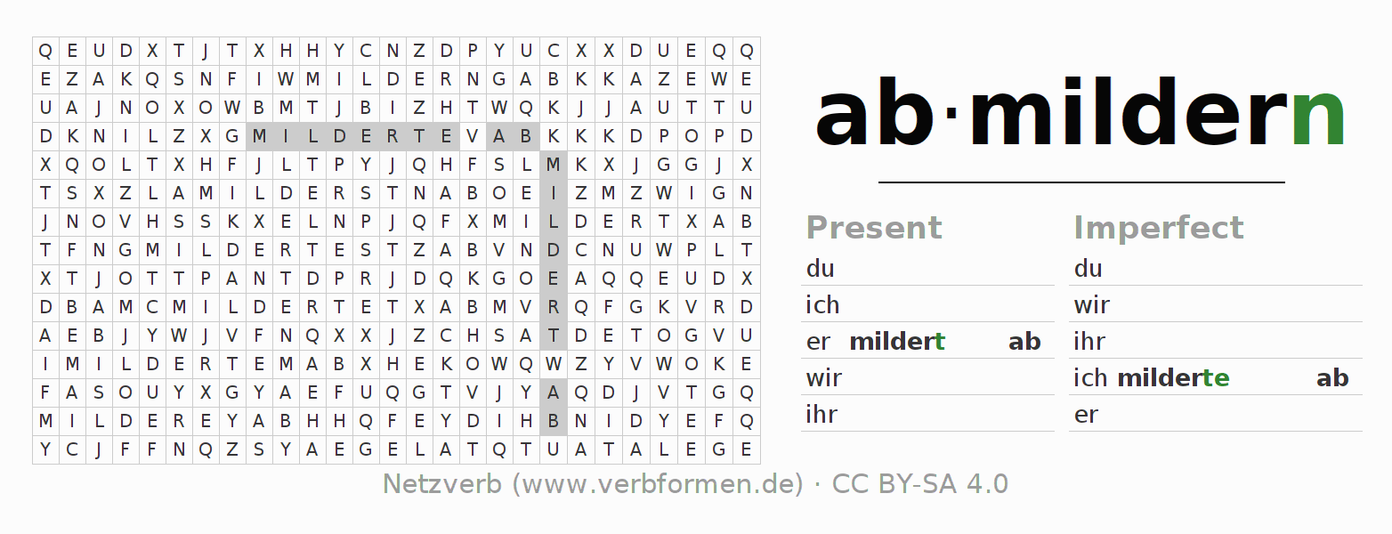 Word search puzzle for the conjugation of the verb abmildern
