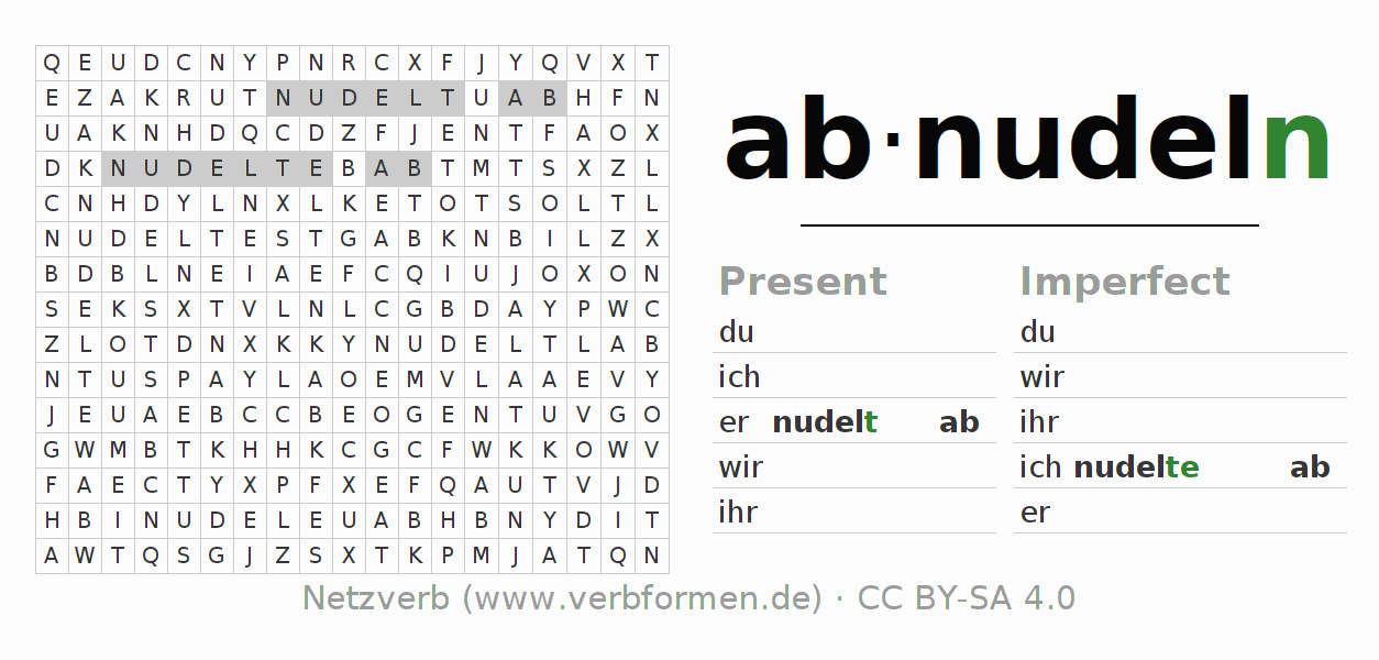 Word search puzzle for the conjugation of the verb abnudeln