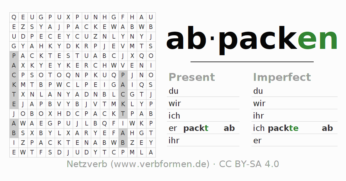 Word search puzzle for the conjugation of the verb abpacken