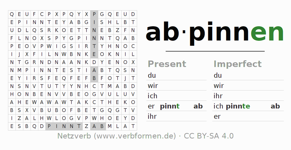 Word search puzzle for the conjugation of the verb abpinnen