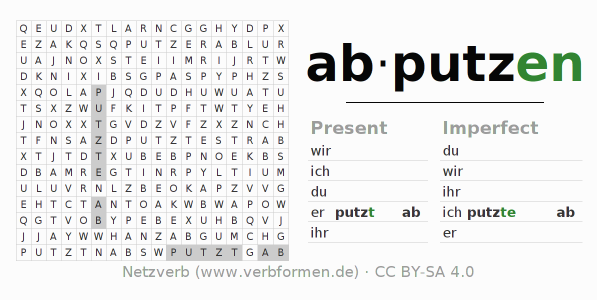 Word search puzzle for the conjugation of the verb abputzen