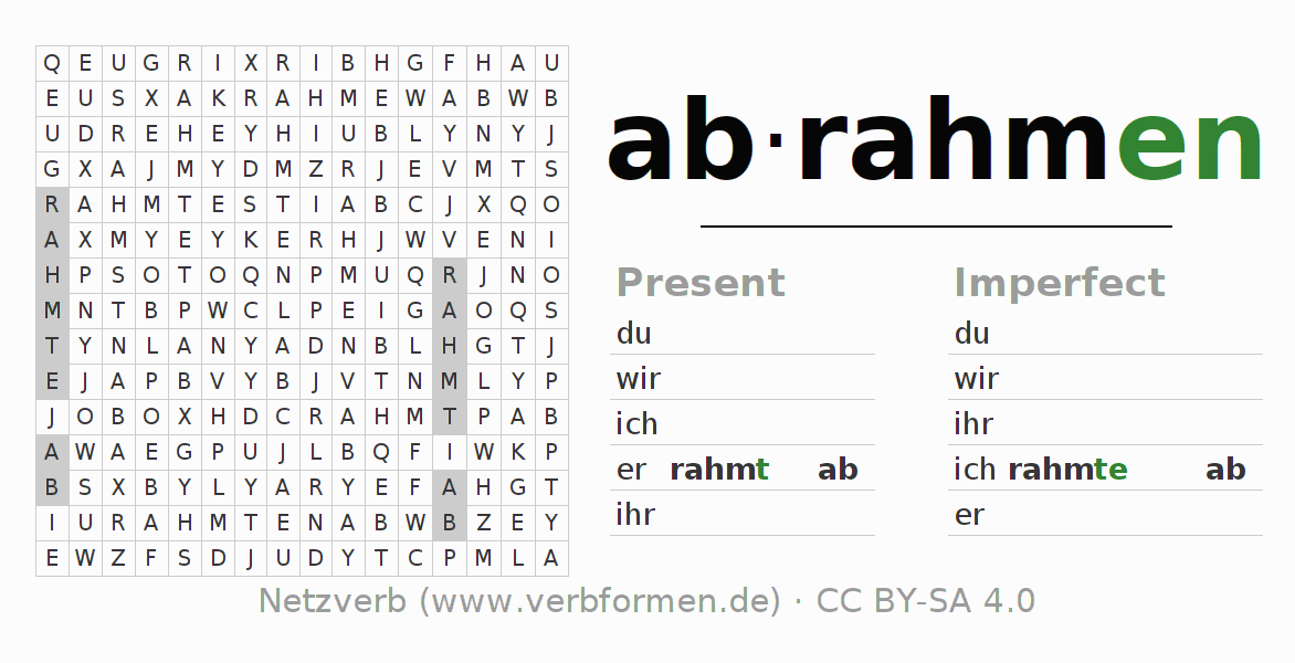 Word search puzzle for the conjugation of the verb abrahmen