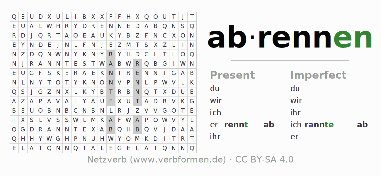 Word search puzzle for the conjugation of the verb abrennen (hat)